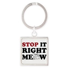 Stop it Right Meow Square Keychain