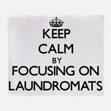 Keep Calm by focusing on Laundromats Throw Blanket
