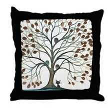 Barbados Owls with Cat Throw Pillow