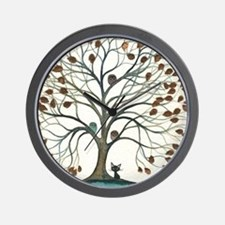 Barbados Owls with Cat Wall Clock