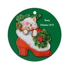 Personalized Christmas Kitten In Ornament (round)