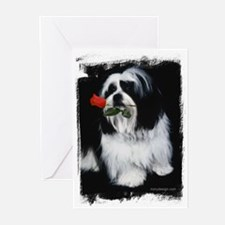 Shih Tzu Dog Rose Greeting Cards