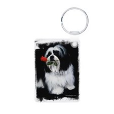 Shih Tzu Dog Rose Keychains
