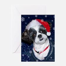 Shih Tzu Santa Greeting Cards