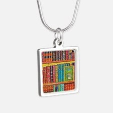 Library Silver Square Necklace