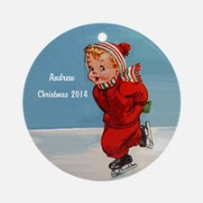 Personalized Vintage Boy Ice Ornament (round)