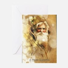 Golden Santa Claus Greeting Cards