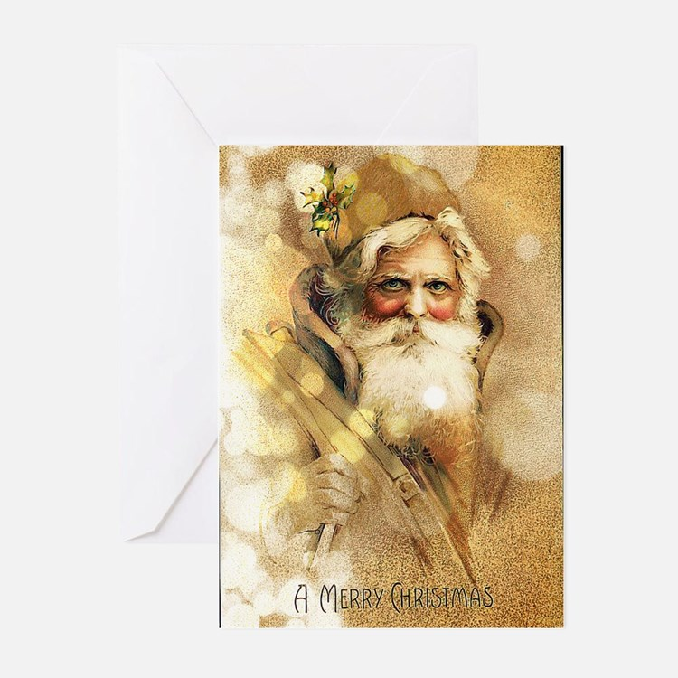 Golden Santa Claus Greeting Cards