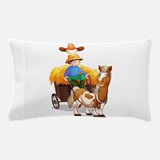 A farmer riding a cart Pillow Case