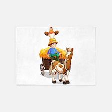 A farmer riding a cart 5'x7'Area Rug