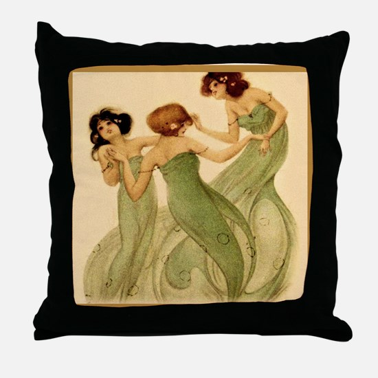 Vintage French Art Deco Dancing Girls Throw Pillow
