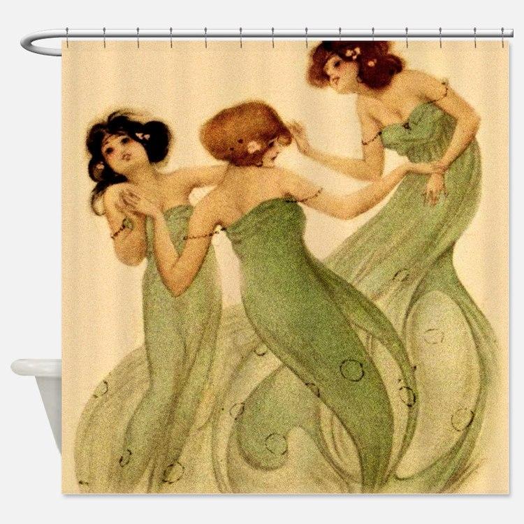 Vintage French Art Deco Dancing Girls Shower Curta
