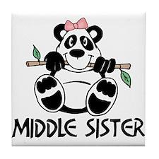 Cute Panda Middle Sister Tile Coaster
