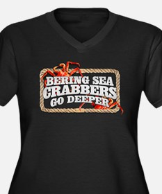 CRABBERS GO DEEPER Women's Plus Size V-Neck Dark T