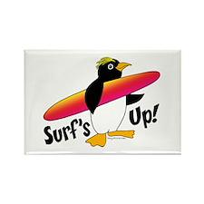 Surf's Up! Penguin Rectangle Magnet