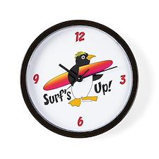 Surf's Up! Penguin Wall Clock