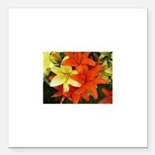 """Orange And Yellow Flowers Square Car Magnet 3"""" x 3"""