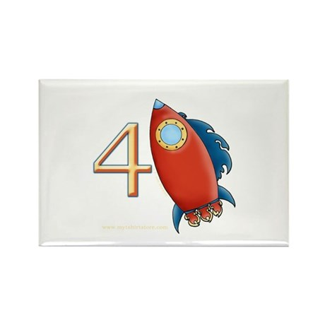 Boy's Rocket 4th Birthday Rectangle Magnet