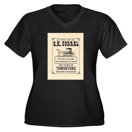 The O.K. Corral Women's Plus Size V-Neck Dark T-Sh