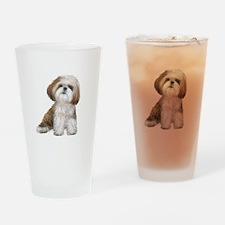 Shih Tzu (red-Wte) Drinking Glass