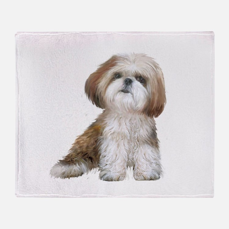 Shih Tzu (red-Wte) Throw Blanket