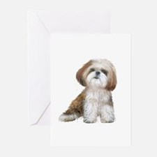 Shih Tzu (red-Wte) Greeting Cards (Pk of 10)