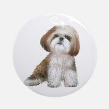 Shih Tzu (red-Wte) Ornament (Round)