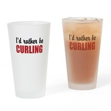 I rather be curling Drinking Glass