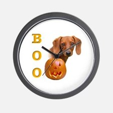 Smooth Dachshund Boo Wall Clock