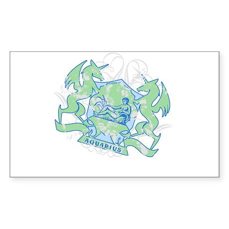 Aquarius Zodiac Designer Rectangle Sticker
