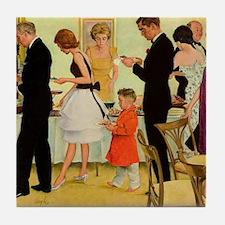 Retro Dinner Party Tile Coaster