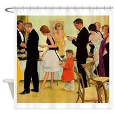 Retro Dinner Party Shower Curtain