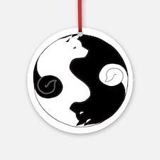 Ying Yang Akita Ornament (Round)