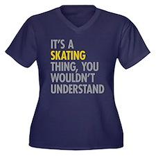 Its A Skatin Women's Plus Size V-Neck Dark T-Shirt