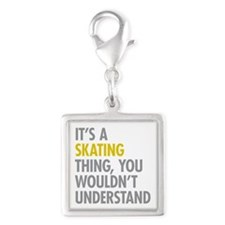 Its A Skating Thing Silver Square Charm