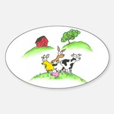 farm animals Oval Decal