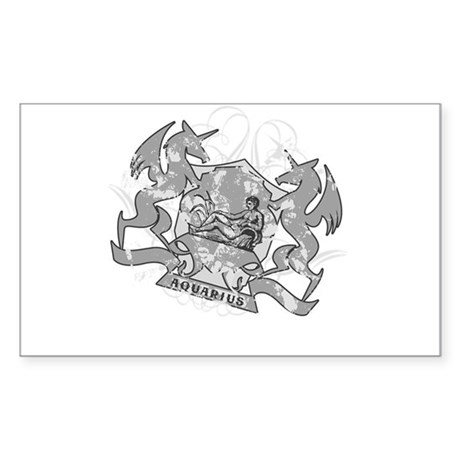 Aquarius Water Carrier Zodiac Sticker (Rectangular