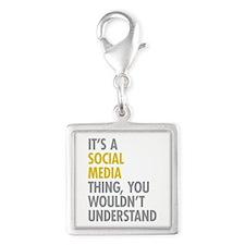 Its A Social Media Thing Silver Square Charm