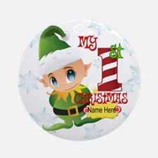 Elf 1st Christmas Custom Ornament (round)