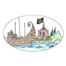 monkey pirate ship Oval Decal