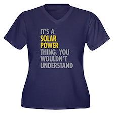 Its A Solar Women's Plus Size V-Neck Dark T-Shirt