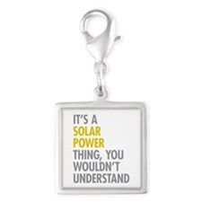 Its A Solar Power Thing Silver Square Charm