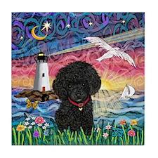 Seagull-BlackToyPoodle Tile Coaster