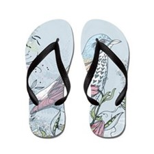 Bird and Flowers Flip Flops
