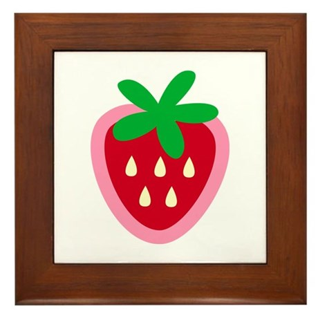 Strawberry Solitaire Framed Tile