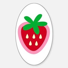 Strawberry Solitaire Oval Decal