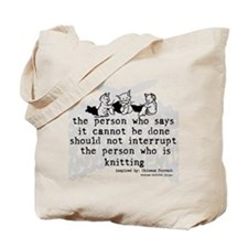 Knitting Chinese Proverb Tote Bag