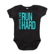 Run Hard Eat Bacon Baby Bodysuit