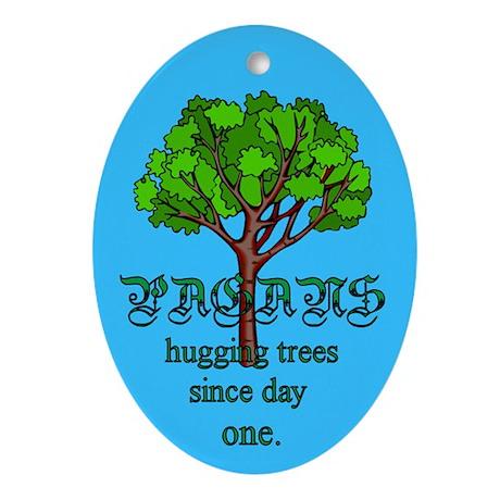 Pagan Tree Hugging Oval Ornament