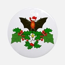 Christmas Holly With Bat Ornament (Round)